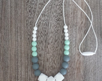 Silicone Teething Necklace - Nursing Necklace - Mint Green and White, Compliant