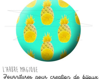 2 cabochons glue pineapple fruit exotic ref 1743 - 16 mm.