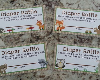 Printable Woodland Animals Diaper Raffle Tickets  and Sign mms002