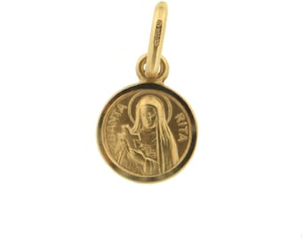 18K Solid Yellow Gold Round Saint Rita Of Cascia (Patroness of Impossible Causes) Medal.