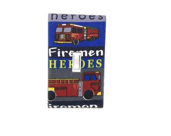Fire Truck Light Switch Cover - Fireman Switch Plate Cover - Fire Engine Bedroom Decor - Heroes Light Switch Cover - Firetruck Wall Decor