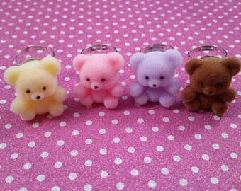 Colorful fuzzy Teddy Bear or Rabbit Adjustable Ring for Fairy Kei, Lolita or Decora, Kawaii cute jewelry accessory