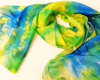 Green and blue silk scarf hand painted, handpainted silk scarf, gift for her,long  silk scarf silkscarvesparis