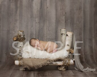 Digital Backdrop/prop - Birch log bed - newborn