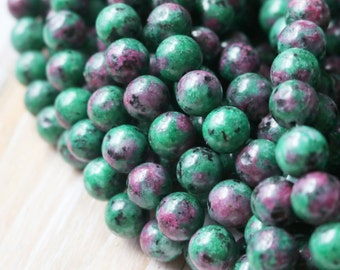 10mm Beads, Ruby Zoisite, Green Beads, Round Beads, Round Beads, Smooth Beads, Colorful Beads,