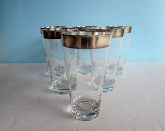 Vintage Silver Rimmed Dorothy Thorpe Highball Glasses - Tapered Glass Tumblers - Sterling Silver Band