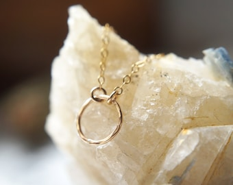 Eternity necklace / hammered circle pendant / 14k gold filled / Sterling Silver / Bridesmaid gift / Gift for her