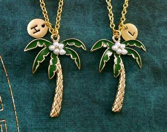 Palm Tree Necklace SET of 2 Palm Tree Charm Necklaces Beach Jewelry Tropical Jewelry Pendant Necklace Friendship Jewelry Friendship Necklace