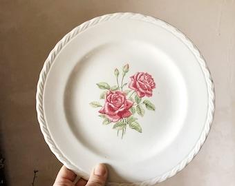 Vintage French Porcelain Plate / vintage porcelain / vintage french ceramic / vintage pottery / vintage french chic / porcelain dinnerware