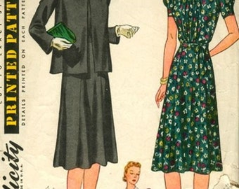 1940 Simplicity 3453 Misses Maternity Dress Sewing pattern, Size 18, Bust 36
