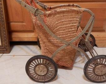 antique metal carriage basket,stroller,woven,unusual,unique,Folding!