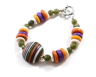 Chunky Handmade Striped Bracelet, Multi Colored Bracelet, Chunky Bracelet, Ceramic Bracelet, Gemstone Bracelet, Antique Silver, Beaded, B014