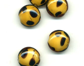 2 flat 20 x 10 mm Tan glass beads black spots
