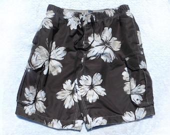 Floral swim shorts  - flower swim shorts ,beach swim shorts , brown swim trunks, men's summer shorts, Waist 34 inches, # 18