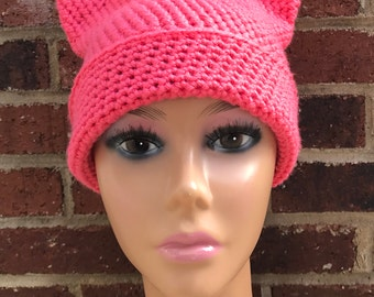 Coral pink crocheted cat hat/cat ear hat