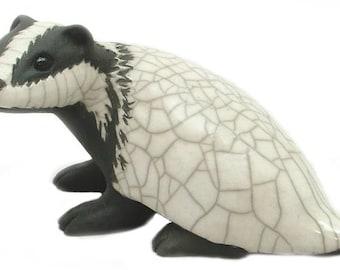 Badger - ceramic raku fired sculpture