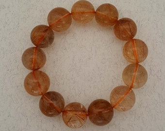 14.5 mm Natural AAA Genuine Golden Brown  Rutilated Quartz Bracelet, Gemstone Bracelet (BEADJ1135)