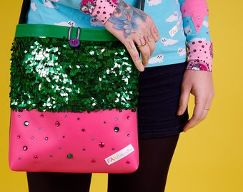 Glittering handbag sequins glitter pink green-Kinky collection
