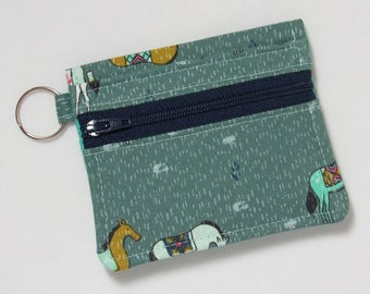 Bifold Keychain Wallet w/ Zipper Coin Pocket & Credit Card/Cash Pockets in Cotton + Steel Horseback / Honeymoon Fabric - One of a Kind!