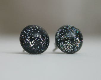 Warp Punk - Black Holographic - Color Shifting - Stainless Steel Stud Earrings
