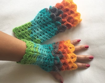 Crochet Fingerless Gloves Crocodile Stitch  in Shades of Green Orange and Turquoise