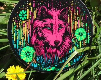 "Colorful 4"" Floral Wolf Sticker - Psychedelic Trippy Sticker - Car Sticker  - Laptop Sticker waterproof Vinyl Sticker"