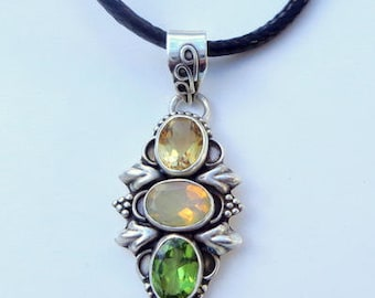 Ethiopian Welo Opal, Peridot, Citrine, Sterling Silver Necklace, Pink, Green,Lavender, Peach Color Play, Natural Gemstone,Collectors Stone