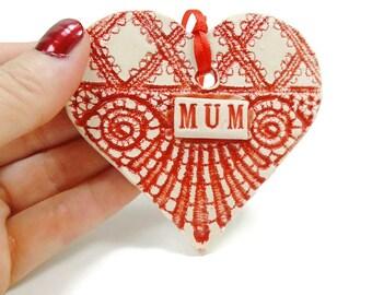 Mum Heart Ornament, Grandmother Gift, Gift for Mum, Mum Birthday, Mothers Day Gift, I Love Mum, Mum Christmas , New Grandmother Ornament