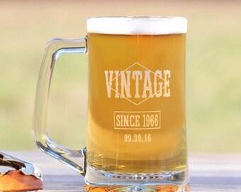Personalized Beer Mug, Happy Birthday, Happy 30th, Happy 40th, Happy 50th, Engraved Beer Mug - Vintage Logo - Great Birthday Present