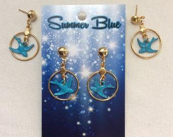Blue Bird / Swallow / Love Bird Petite Gold Hoop Earrings. Pinup, Audubon, Birdwatching