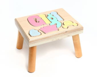 Princess Themed Name Puzzle Stool, Maple,Custom Name Puzzle Stool, Baby Gift, Nursery Wooden Name Puzzle Stool, Baby Gift Wooden Name Puzzle