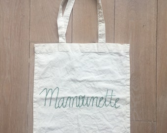 pass bag hand embroidered (with love) 100% cotton Made in France customizable made to order