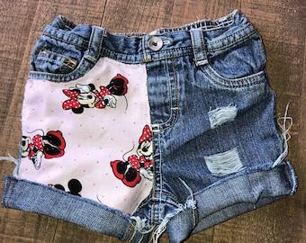 Girls Shorts- Boys Shorts- Cartoon Shorties- Minnie Mouse Kids Shorts- Distressed Shorts- Baby Girl Shorts- Baby Boy Shorts- Kids Fashion