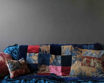 French Toile Velveteen Patchwork Lap Quilt Throw