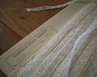 Antique lace wholesale or retail  ivory filet lace french 1800s  yardage pure cotton