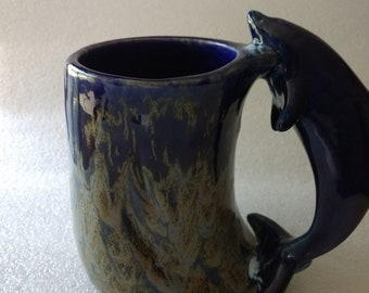 Dolphin Coffee Mug Blue and Bronze