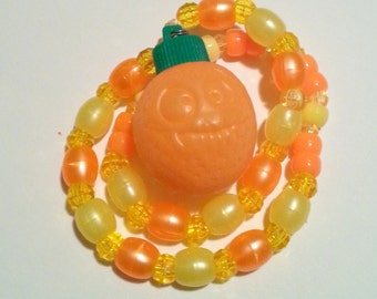 Kandi Citrus Splash Orange Stash Vial Pony Bead Necklace