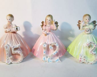 Josef Originals 15 13 & 12 Birthday Angel Figurine Set Lot of 3 Damaged