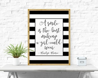 Typography Poster, A Smile Is The Best Makeup.. Wall Decor, Motivational Print, Inspirational Print, Bedroom Decor, Quotes For Girls