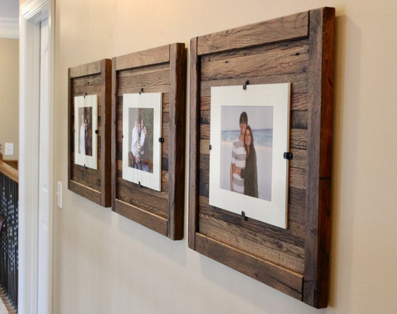 Rustic Wood Frames Reclaimed Wood Frame Set of 3 5 x 7