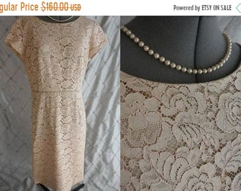 "ON SALE 50s 60s Dress //  Vintage 50s 60s Cream Lace Dress by Blakely Size L Xl 34"" waist wedding"