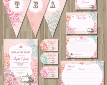 Shabby chic Tea Party pack. DIY card. Roses. Digital Printable cards