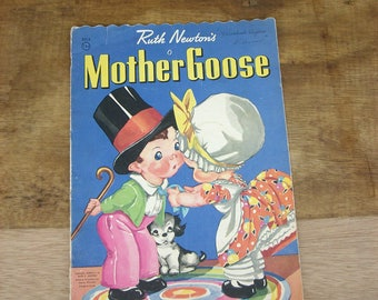 Vintage Children's Cloth Mother Goose Book 1943, Ruth E. Newton  Oversized, Illustrated Picture Book