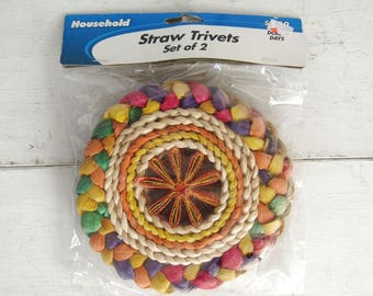 Vintage Straw Trivet Set Beige Rainbow Set of 2 Early 90s Does 1970s Trivets Unopened