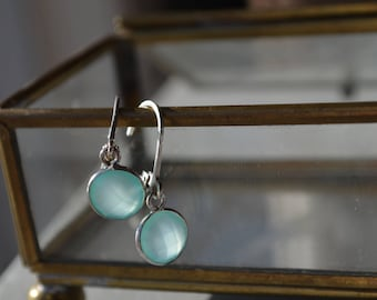 Gemstone earrings, lever back, crystals, aqua blue chalcedony, gift for her, sterling silver, minimalist earrings, small earrings