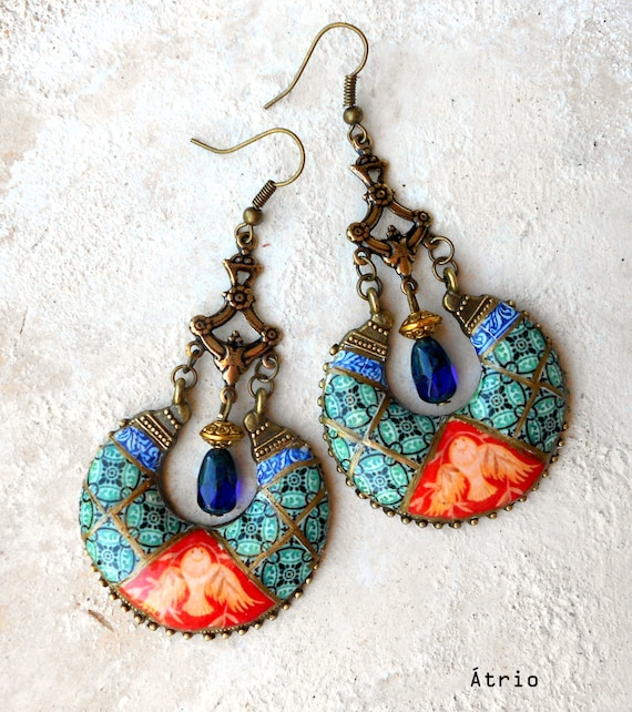 Earrings Bohemian Chandelier Portugal Antique Azulejo Tile Replica Persian,  Ilhavo - Dove Frescoes from Sintra Palace Chapel - Boho Hippie
