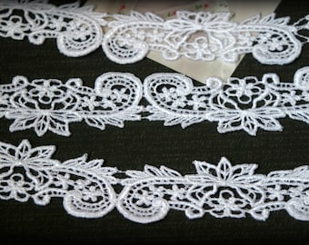 100% FREE SHIPPING! White Venice Bridal Embroidered Applique Crafting Fabric Lace Trim LA-050