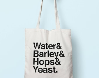 Water  Barley  Hops & Yeast Tote Bag Long Handles TB0763