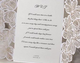 Exquisite Floral Laser Cut Invitation - DEPOSIT