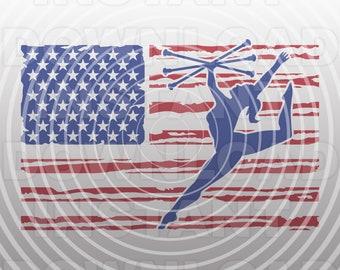 Distressed USA Flag Majorette Baton Twirling SVG File,Dance Gymnastics svg -Commercial & Personal Use-Cricut,Silhouette,Cameo,Iron on Vinyl